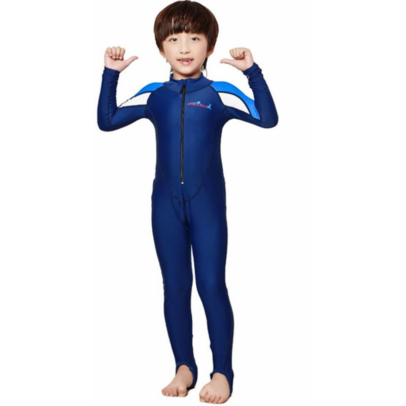 d240756dd Plus Size Wetsuit Children Swim Suit One Piece Snorkel Swimwear Boy Girl  Surfing Swimsuit Diving Suits Swimming Jumpsuit Blue