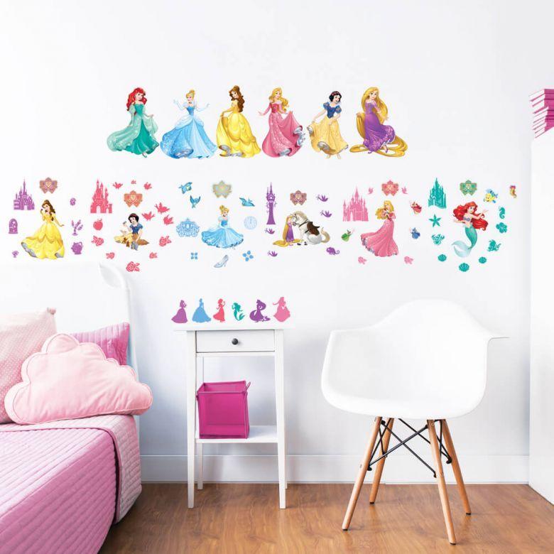 Adesivi Murali Principesse Disney.Adesivo Principesse Disney Set 77 Pezzi Adesivi Divertenti E