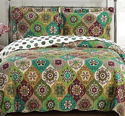 Quilt Coverlet Set Twin Twin Xl Single Size Moroccan Boho Mandala Geometric Pattern Green Gold Wrinkle Free Lightweig Coverlet Set Quilted Coverlet Bed Spreads