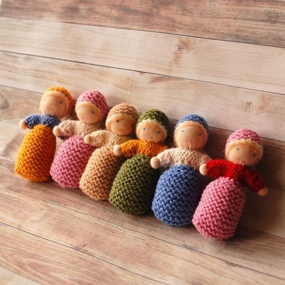 Waldorf knit doll in a pouch Small knitted baby dolls Tiny baby dolls Pocket dolls Wool stuffed doll Steiner dolls Waldorf toys Cuddle dolls