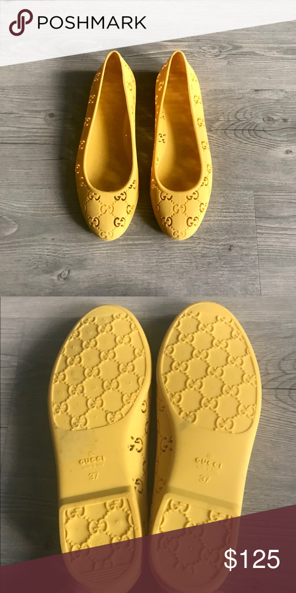 b1165aa34 [auth. nwob] Gucci GG Rubber Ballet Flat, Yellow New without box. -100%  authentic. -Never worn. -Small stain on the outer sole otherwise in perfect  ...