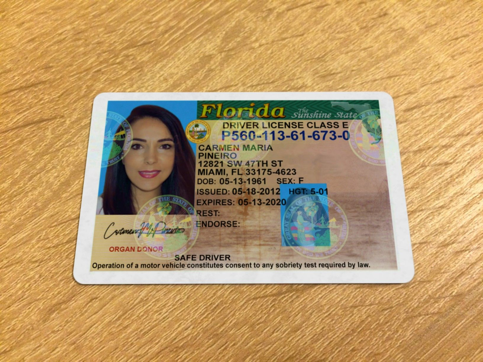 Driver S License Front Snapshot Drivers License Driving License Doctors Note