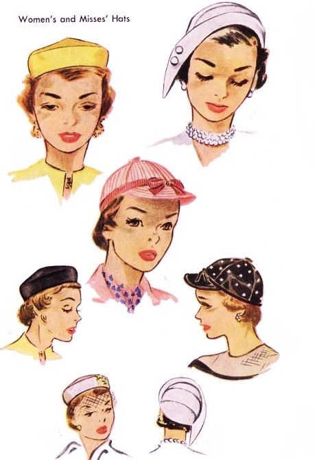 CHIC 1950s Hats Pattern McCALL 1604 Four Fabulous Styles Daytime or ...