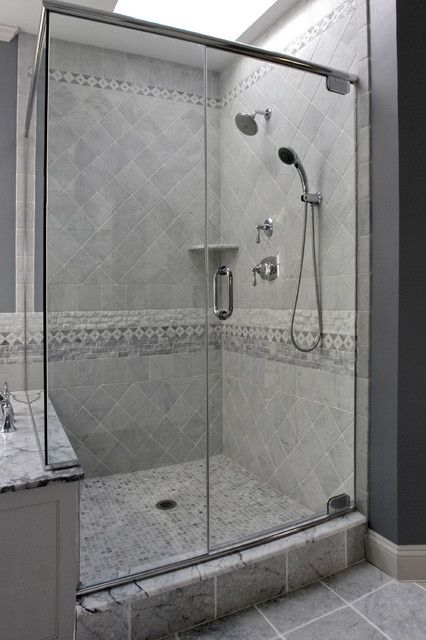 Pale grey tile master bathroom design pictures remodel for Bathroom designs using mariwasa tiles