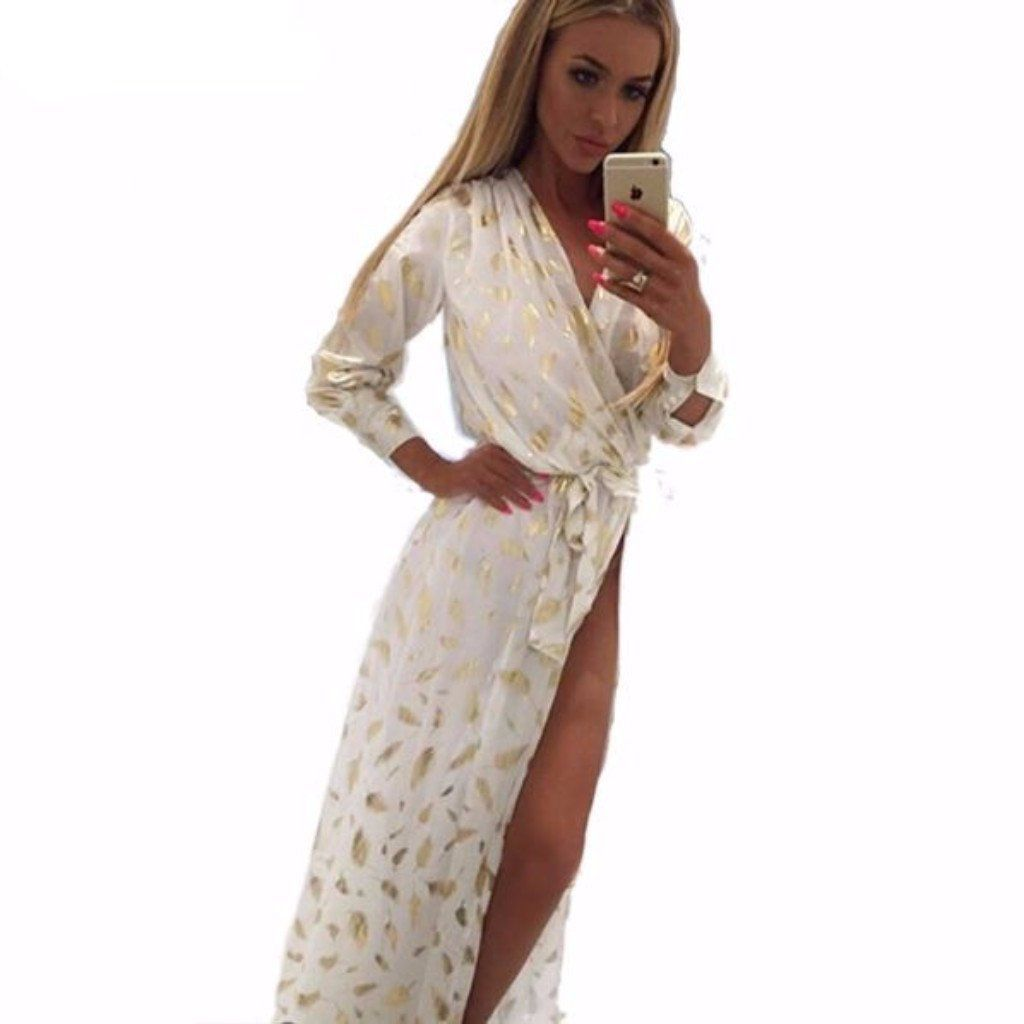 Gold feather pattern high slit women maxi dress gold feathers