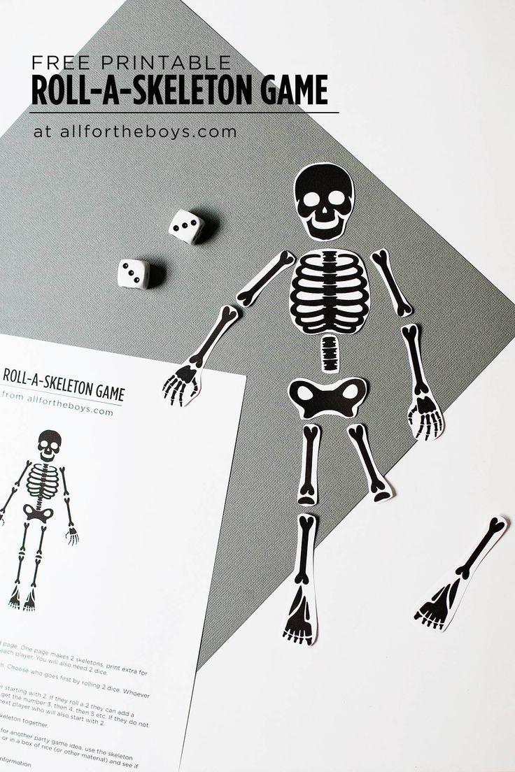 Free Printable Skeleton Game | Halloween parties, Free printable and ...