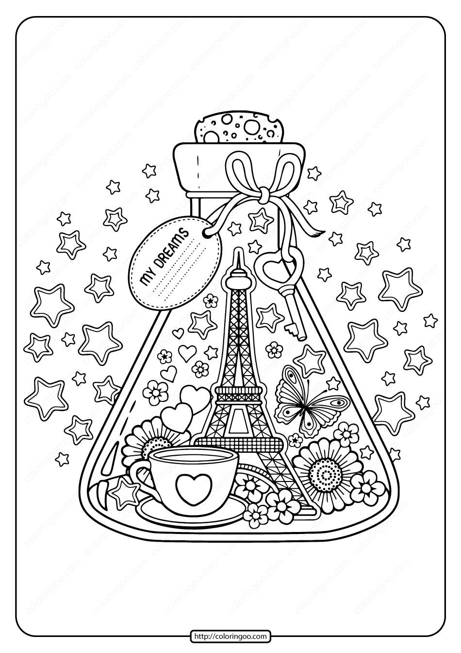 Printable Paris City Of Love Pdf Coloring Page High Quality Free Printable Coloring Drawing Paint In 2020 Coloring Pages Valentines Day Coloring Love Coloring Pages