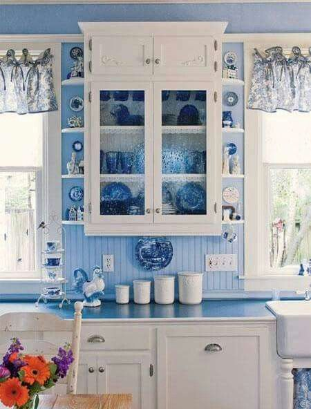 Love This Shade Of Blue Country Kitchen Kitchens White