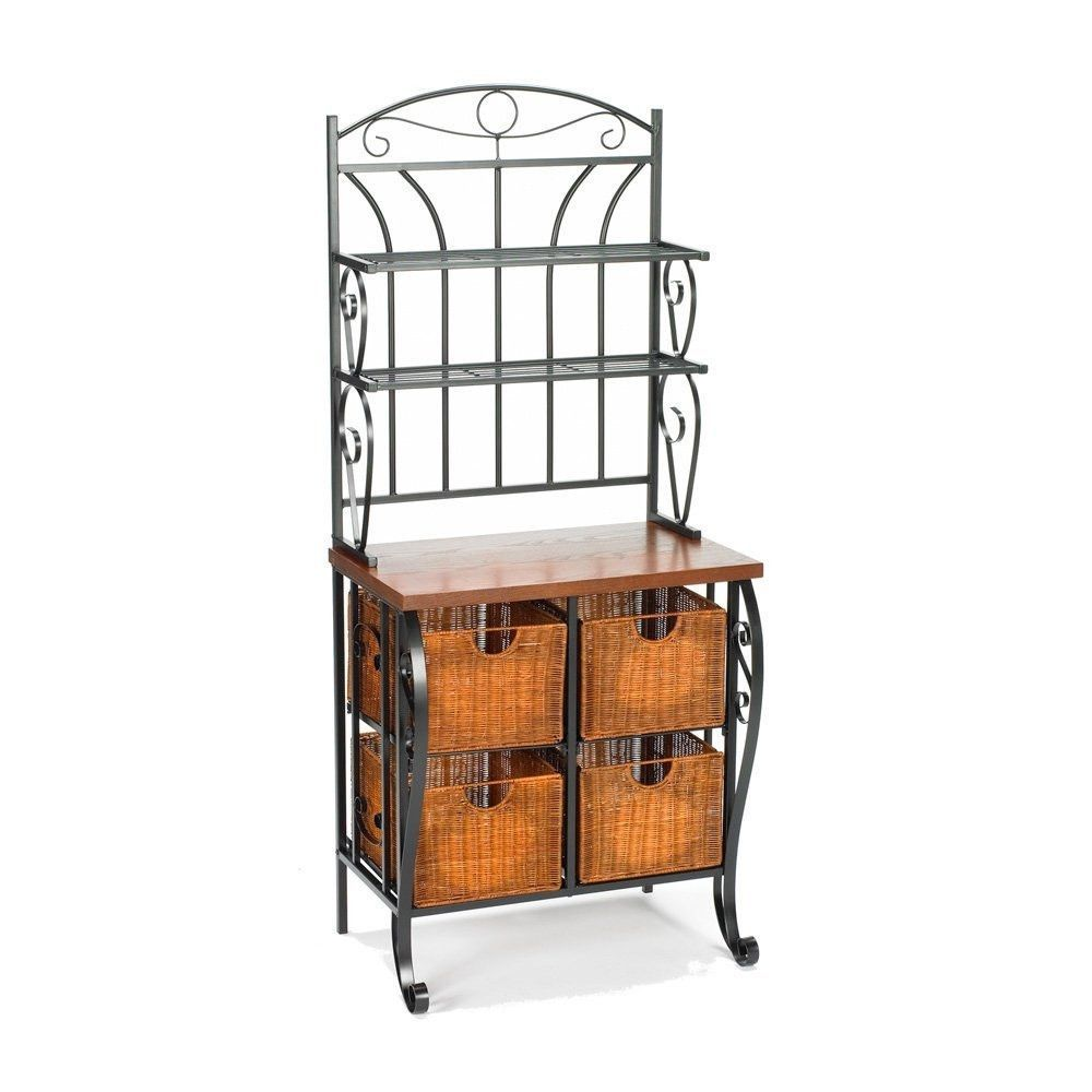 Kitchen Pantry Bakers Rack With 4 Wicker Drawers Bakers Rack