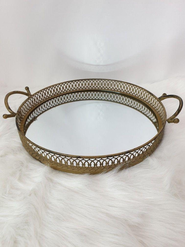 26 x 18 x 5 cm Schmuck//Make up Organizer Metall Tablett Dekotablett als Schminktisch Aufbewahrung HARLIANGXY Vintage Spiegel Tablett Spiegeltablett Gold
