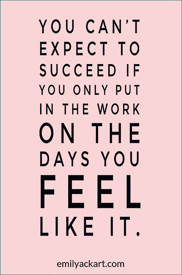 Motivational quote for success when you don't feel like exercising. Get inspiration to workout and r...