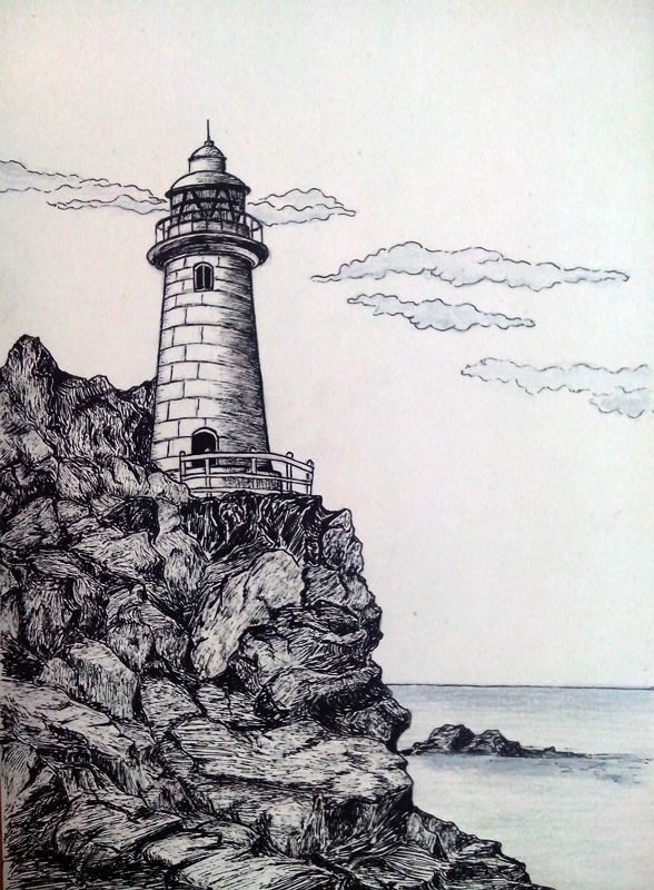 Cliff Lighthouse | tattoos in 2019 | Pencil drawings, Art