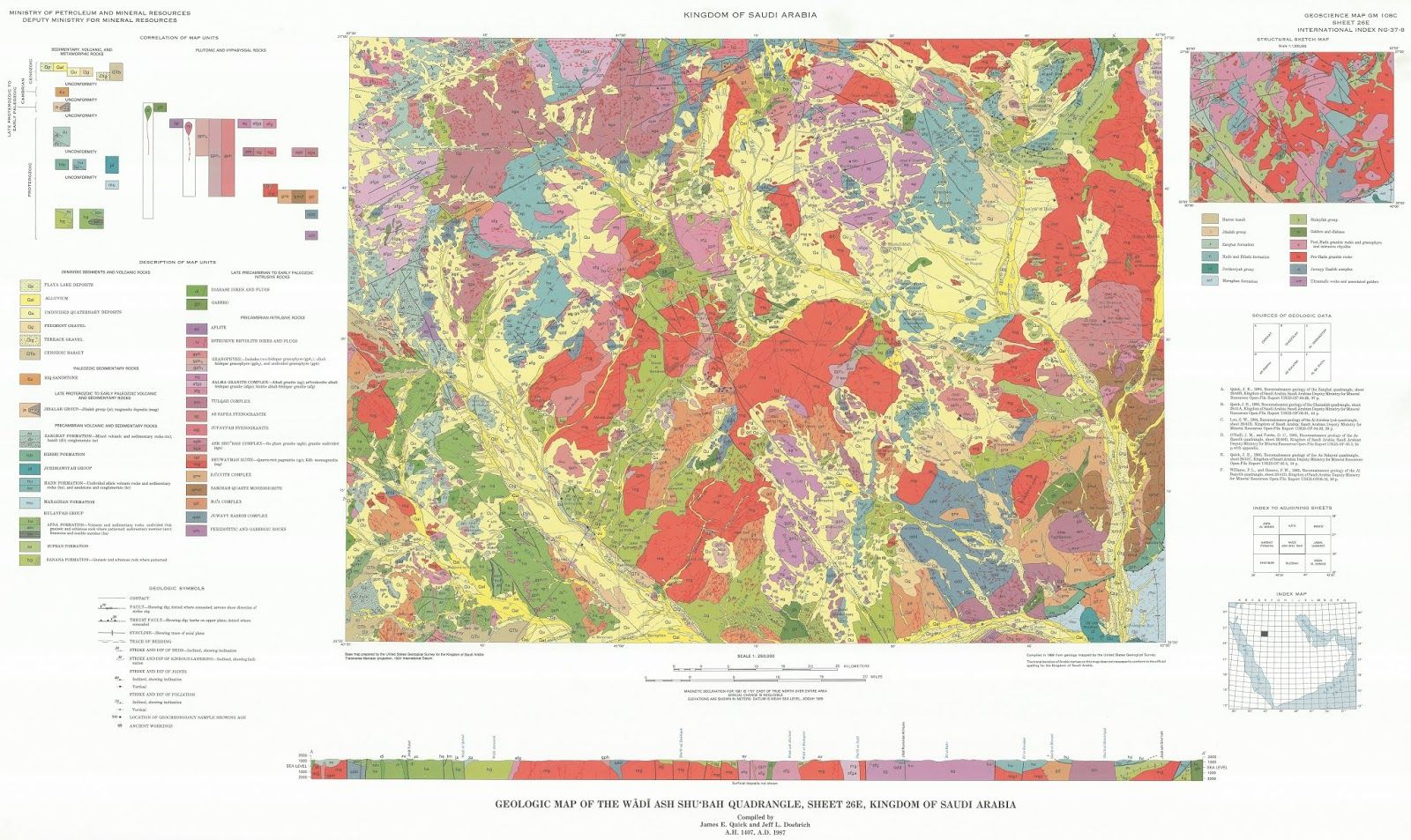 الجغرافيا دراسات و أبحاث جغرافية Geologic Map Of The Wadi Ash Shu Bah Quadrangle S Map Wadi Saudi Arabia