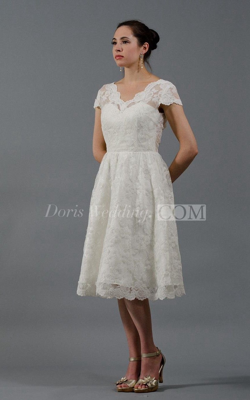 Vintage short sleeve vneck knee length aline lace dress with lowv