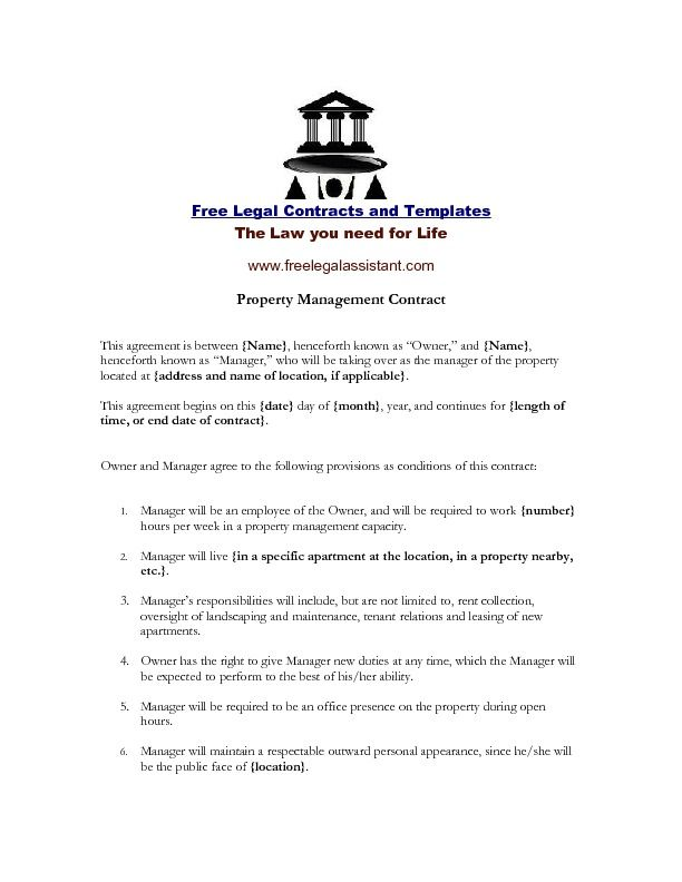 Property Management Agreement-Set up this agreement with someone who