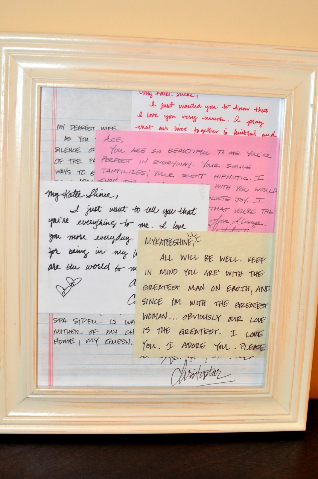 Framed Love Letters and notes from my husband <3 | DIY | Diy box