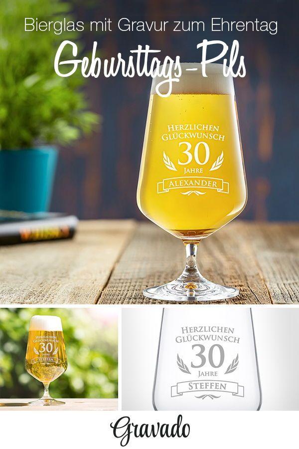 Bierglas Mit Gravur 30 Geburtstag Pilstulpe Personalisiert