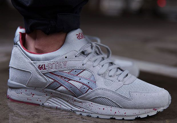 grey and red asics