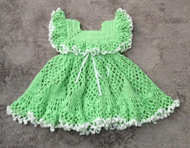 Green dress baby images  Crochet baby dress green baby dress dress for  months old baby