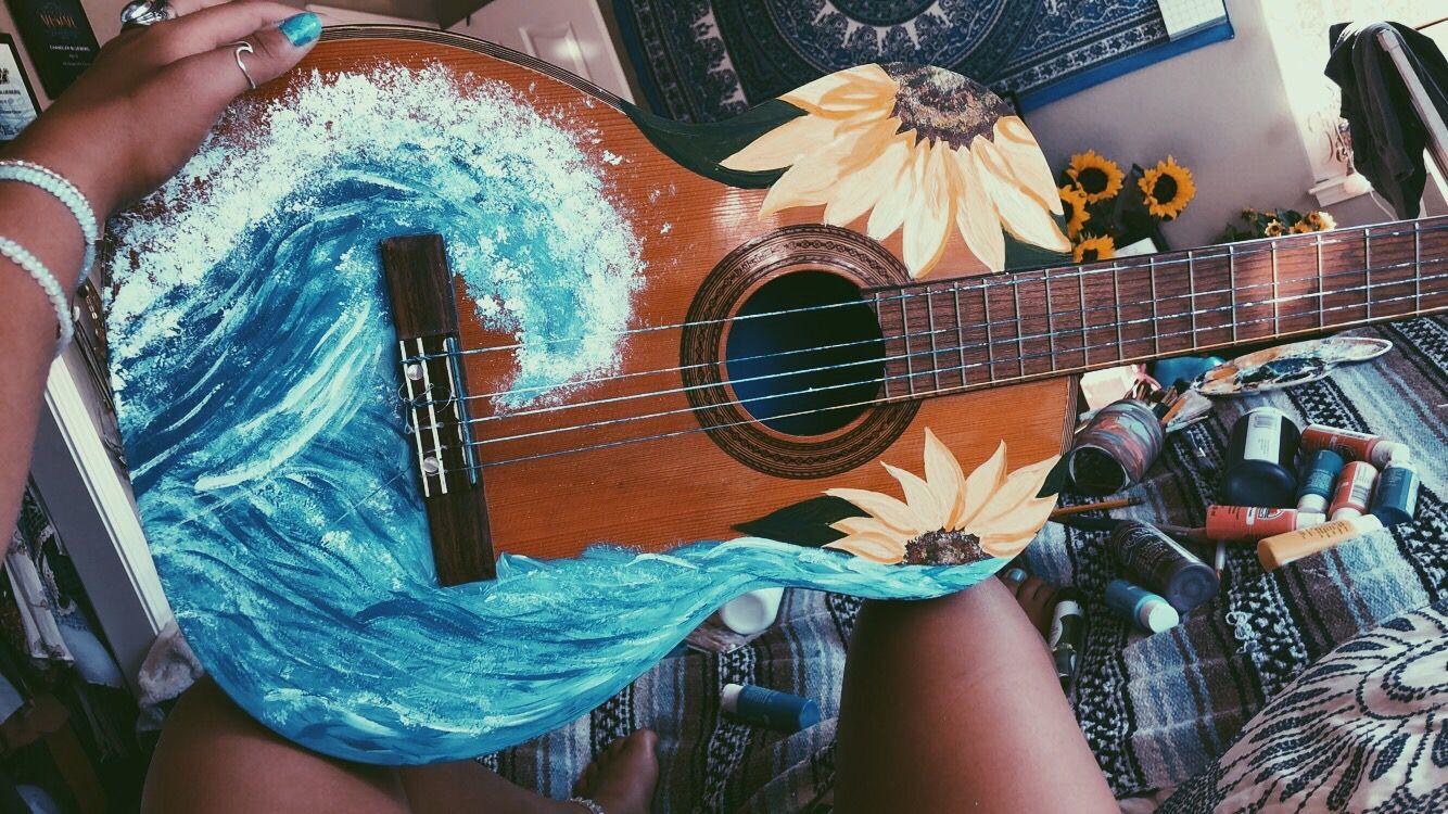 Painted Guitar Waves And Sunflowers Ukulele Art Painted Ukulele Guitar Painting