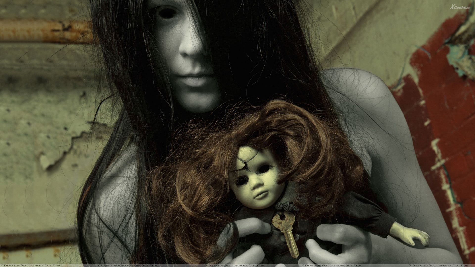 Creepy Ghost Girl With Ghost Barbie Creepy Ghost Creepy Horror Scary Wallpaper
