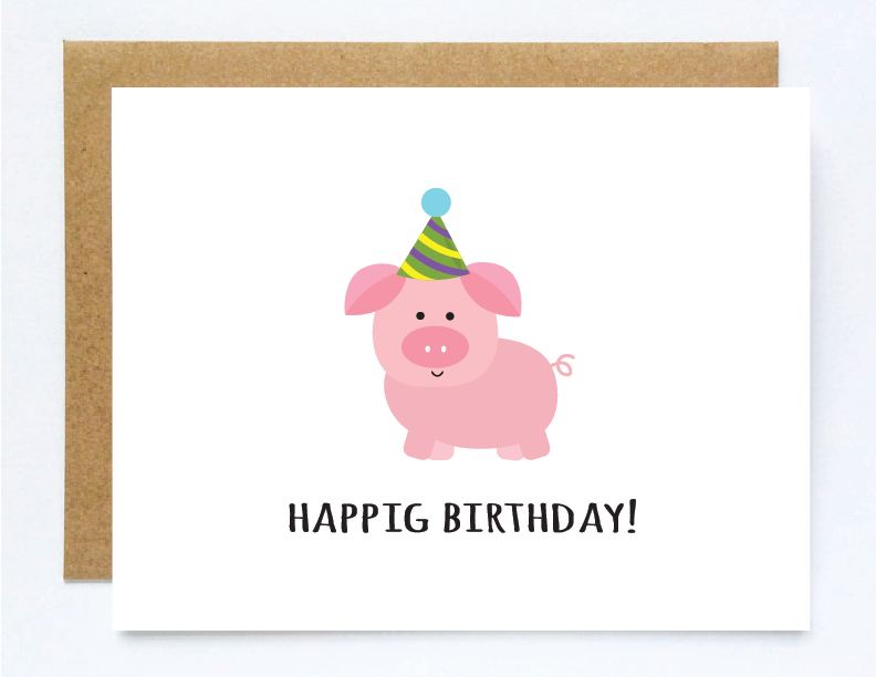 Funny Birthday Card Cute Pig Card Kids Birthday Cards Cute
