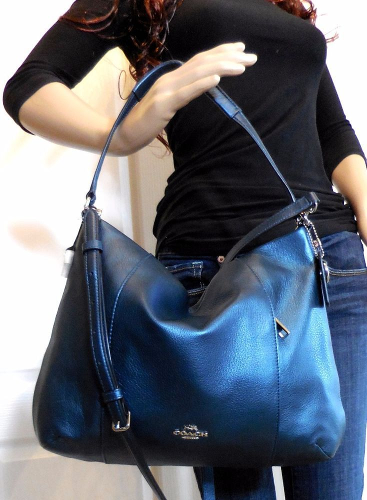 2499bca5a8396 NWT COACH BLUE METALLIC PEBBLED LEATHER EAST WEST HOBO SHOULDER CROSSBODY  BAG #Coach #ShoulderBag