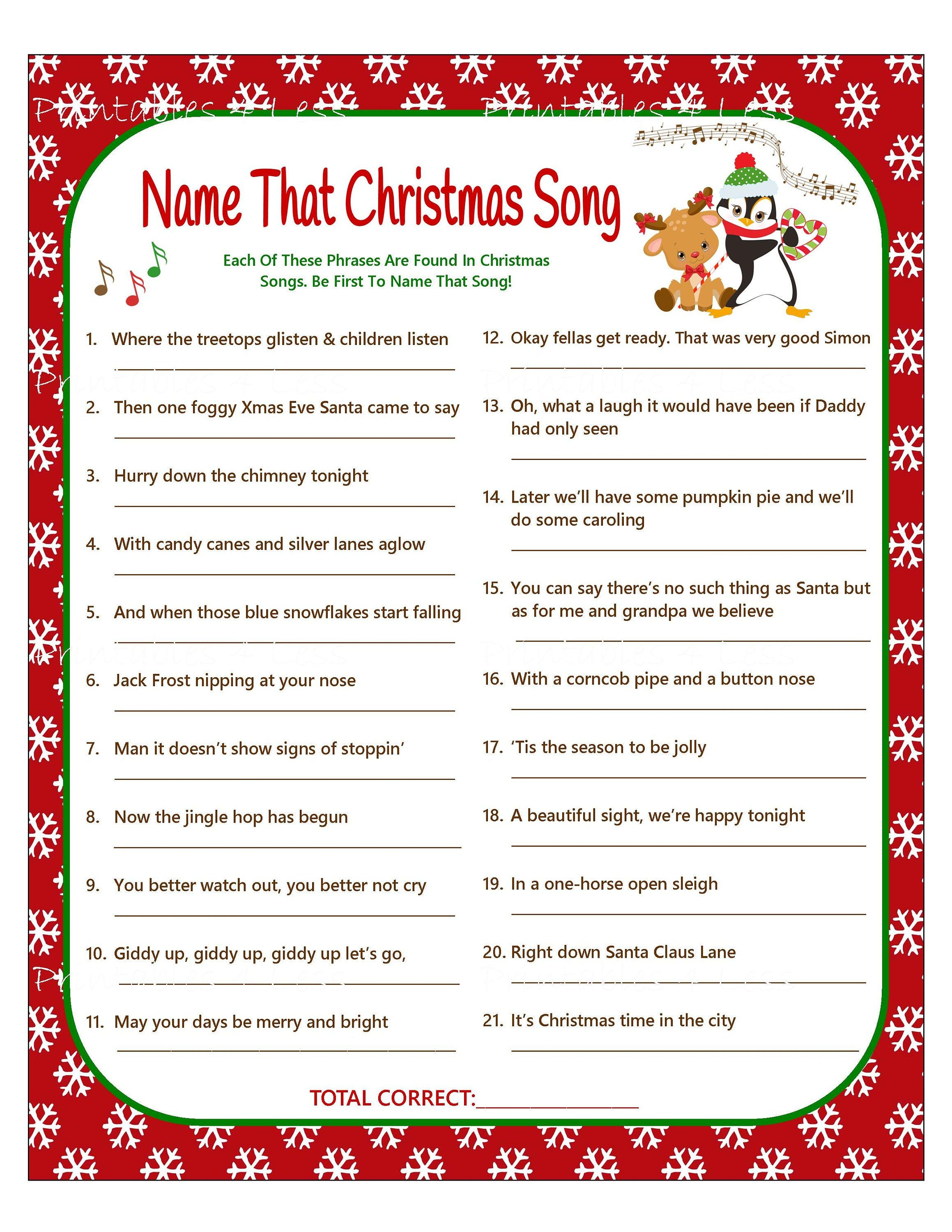 Christmas Carol Game Diy Christmas Song Game Christmas