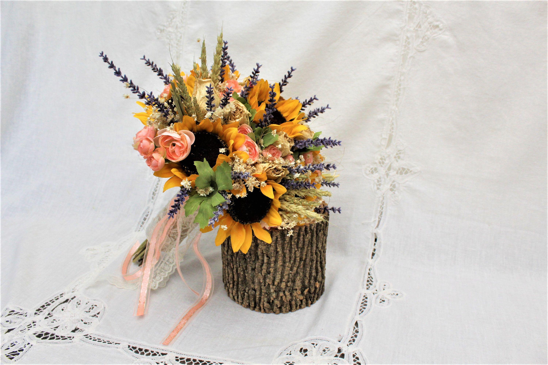 Peach Wedding Bouquet Preserved Dried Rose Flower Bouquet