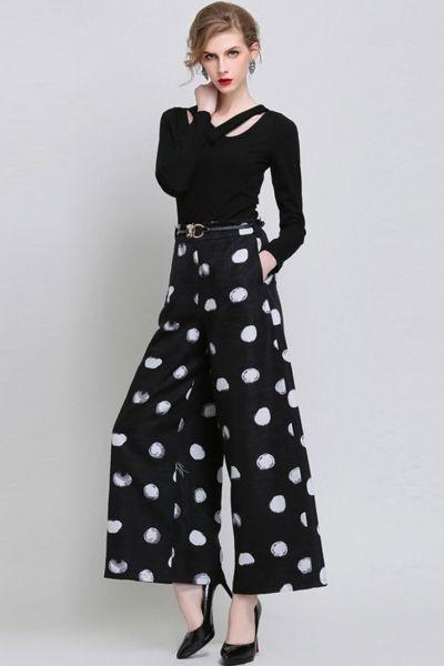4b13b84e92 high waist + polka dot + black + white + culotte + wide leg + pant ...