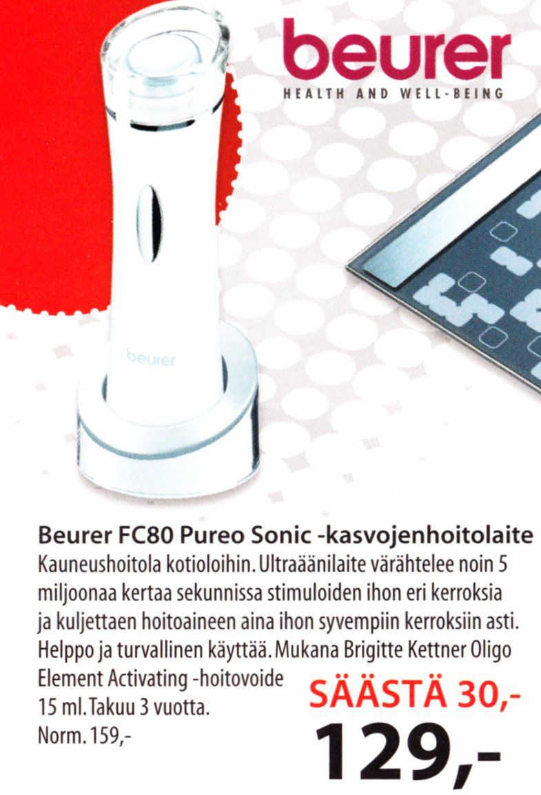 €129 Beurer FC80 Pureo Sonic-kasvojenhoitolaite (Anttilasta)