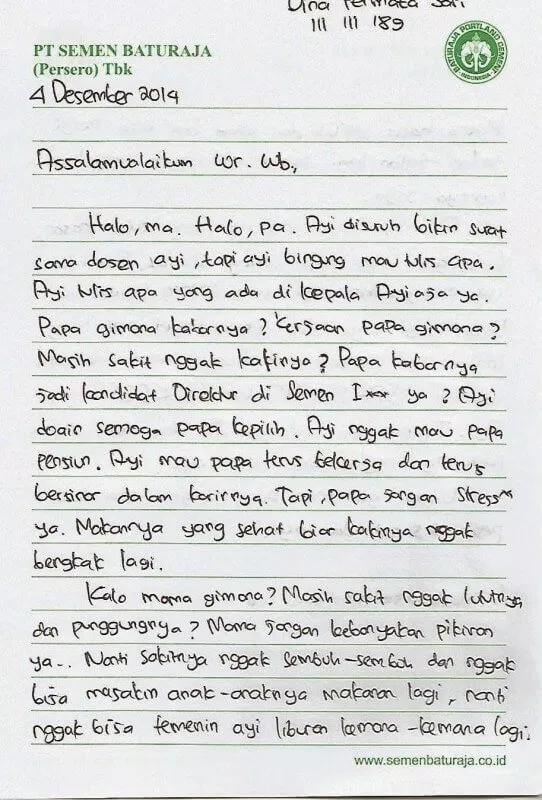 Contoh Surat Untuk Saudara