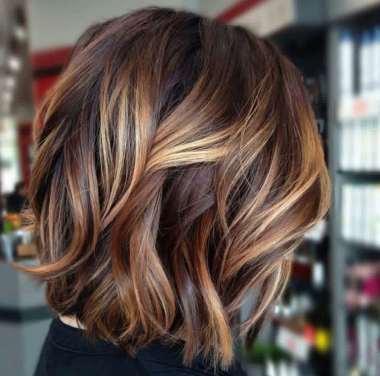 Dimensional Bayalage Short Bob Hair Styles Gorgeous Hair Color Brown Hair With Blonde Highlights