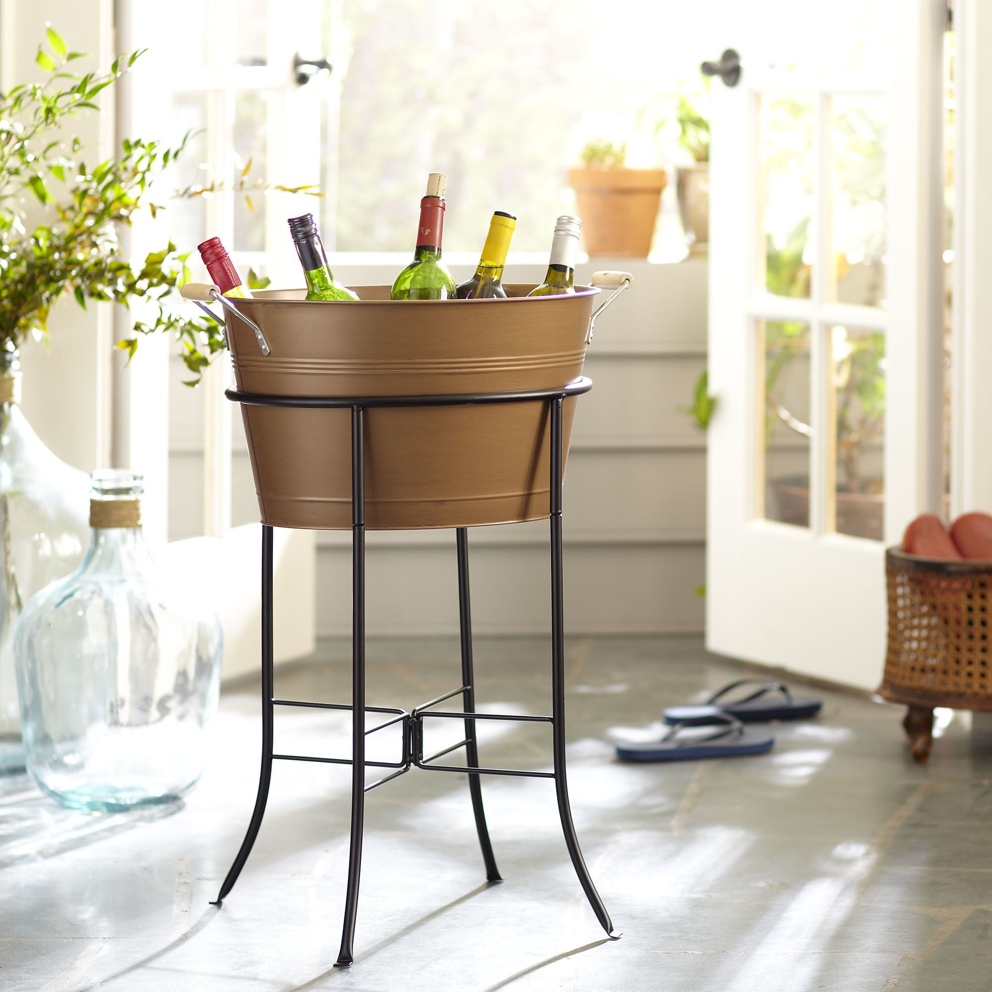 Galvanized Beverage Tub With Stand Copper Galvanized Beverage Tub Beverage Tub Party Tub