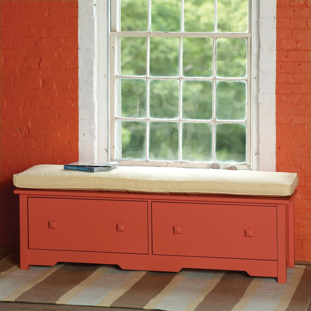 Bed under window  bay double window seat  window sill storage drawers and clutter