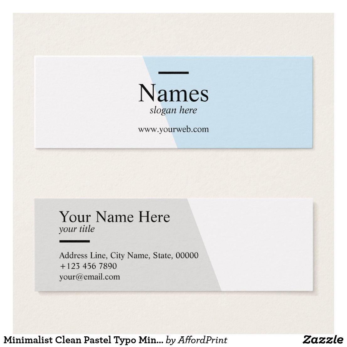 Minimalist Clean Pastel Typo Mini Business Cards Zazzle Com