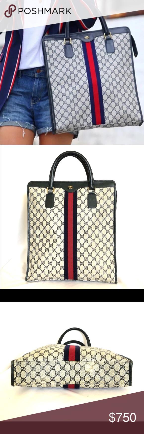 71af0b002f2d GUCCI VINTAGE GG SUPREME CL TOTE BAG Pre-owned Gucci Vintage GG Supreme XL  Tote
