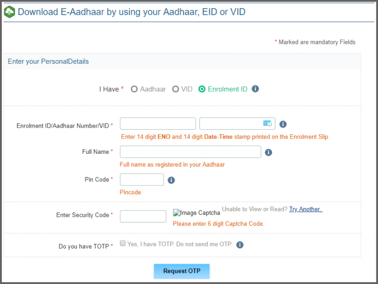 Step 2 Online Adhar Card Download Using Enrolment No Aadhar Card Card Downloads Stamp Printing