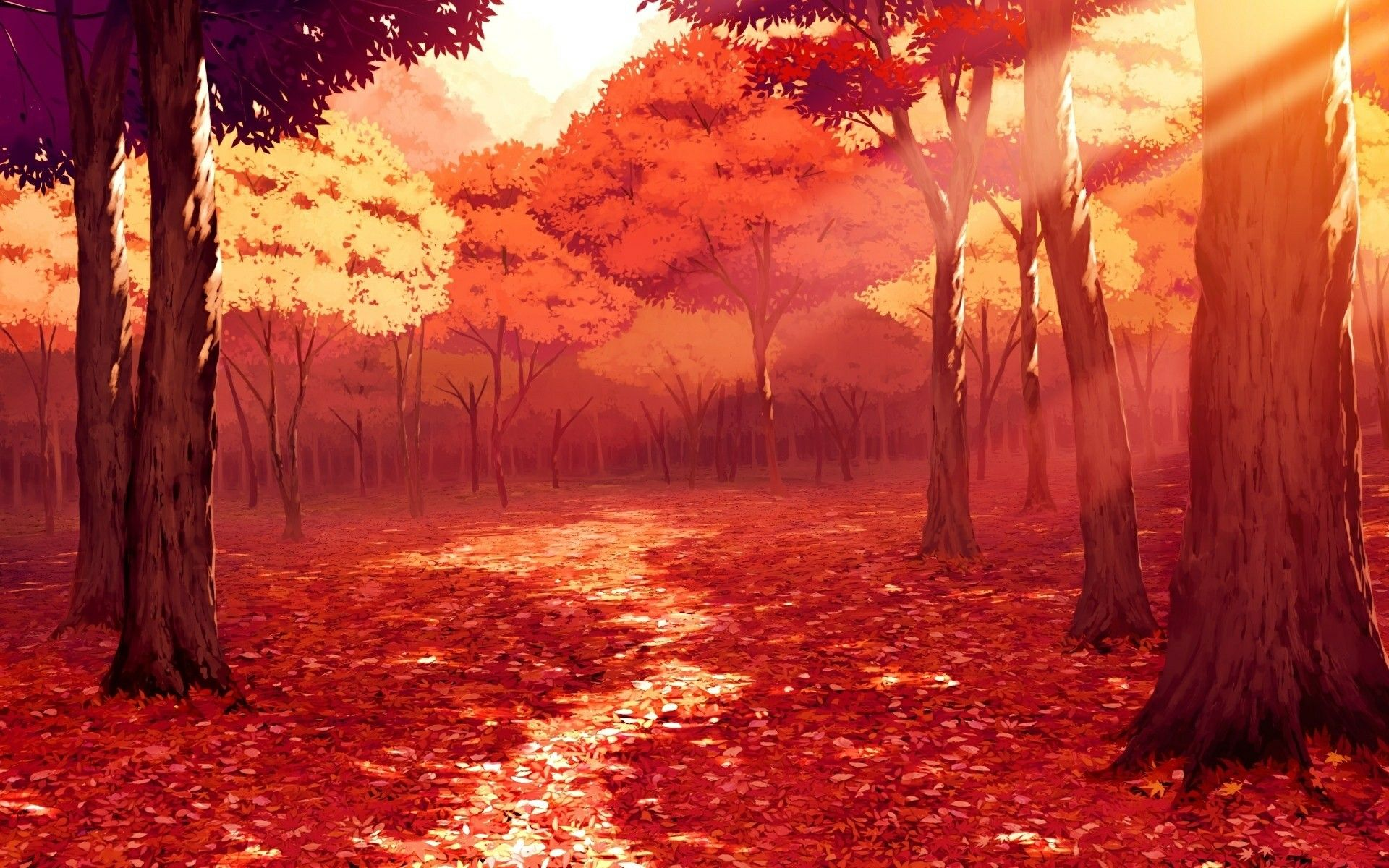 Fall autumn trees forest red leaves pathway anime scenery
