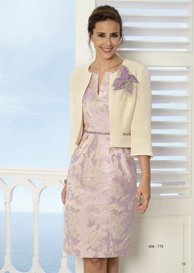vestido corto jaquard con chaqueta de Creaciones Carfi