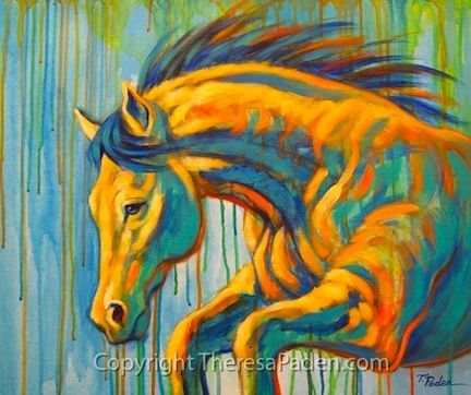 Abstract Horse, Taking the Leap, painting by artist Theresa Paden