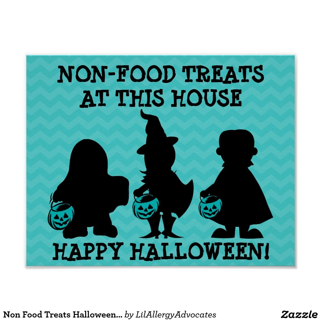 Non Food Treats Halloween Sign Poster with Teal Pumpkins | Food ...