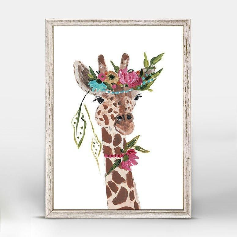 Boho Giraffe Mini Framed Canvas