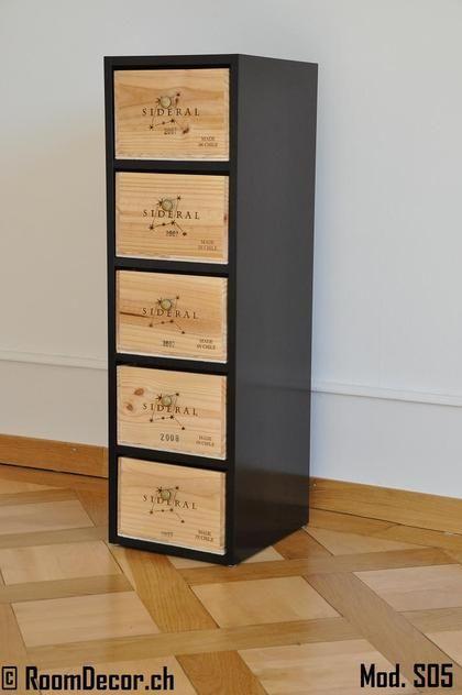 Weinkisten möbel  Schubladenstock mit Weinkisten-Schubladen, Mod. S05 | Aufbewahrung ...