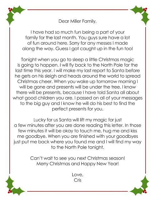 creating my life OUR ELF ON THE SHELF Goodbye letter See