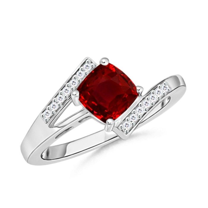 Angara Cushion Natural Ruby Engagement Ring with Diamond Accents