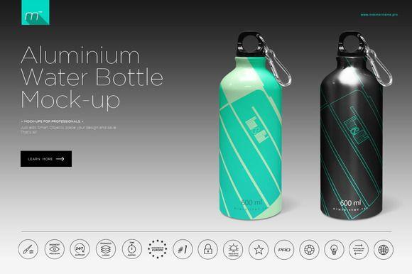 22d2cb53b3793 Aluminium Water Bottle Mock-up by mesmeriseme.pro on @cr… | Product ...
