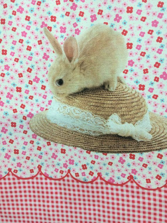 Panel Bunnies  white dot on red and red by FabricAndCraftAvenue