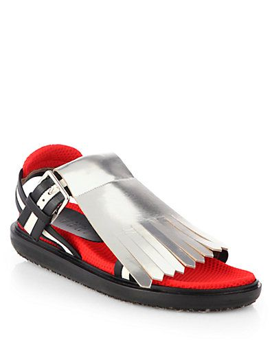Marni Fussbett Metallic Fringe Sandal