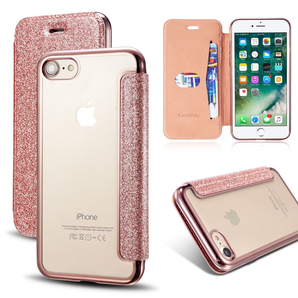 release date: 65be7 b4284 Details about Clear Back Leather Flip Case Silicone Cover Wallet for ...